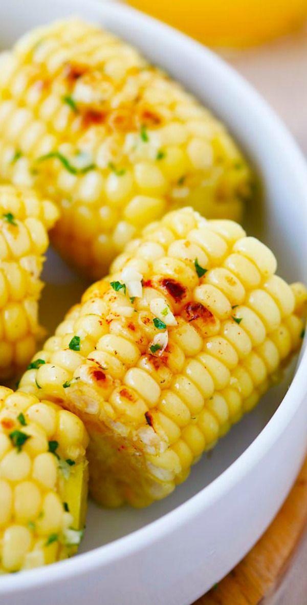 Garlic-Herb Butter Roasted Corn – corn with garlic herb butter and roasted on grill pan. The corn takes 15 mins to make | rasamalaysia.com