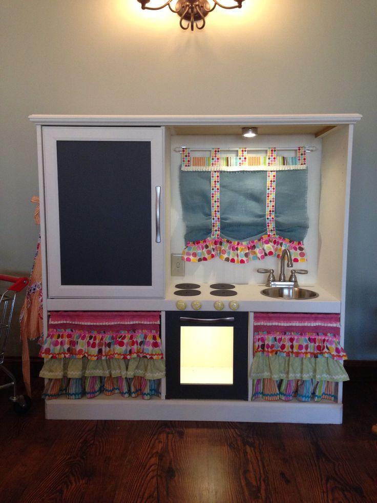 Old Entertainment Center Into Kids Play Kitchen Sink Stove Fridge Chalkboard Elec Lights