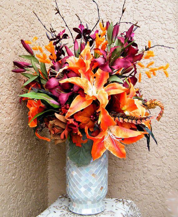 Mediterranean Style Floral Arrangements | Zen Garden Silk Flower  Arrangement, Burgundy, Orange Lilies,