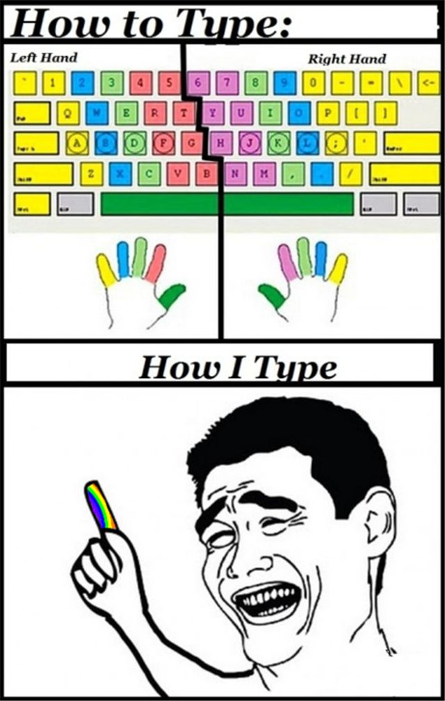 How I type. No matter how many classes the teachers made me take. Alison FTW