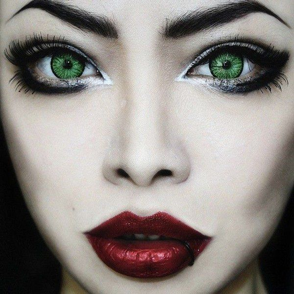 colored contact lenses halloween make up costume ideas green lenses