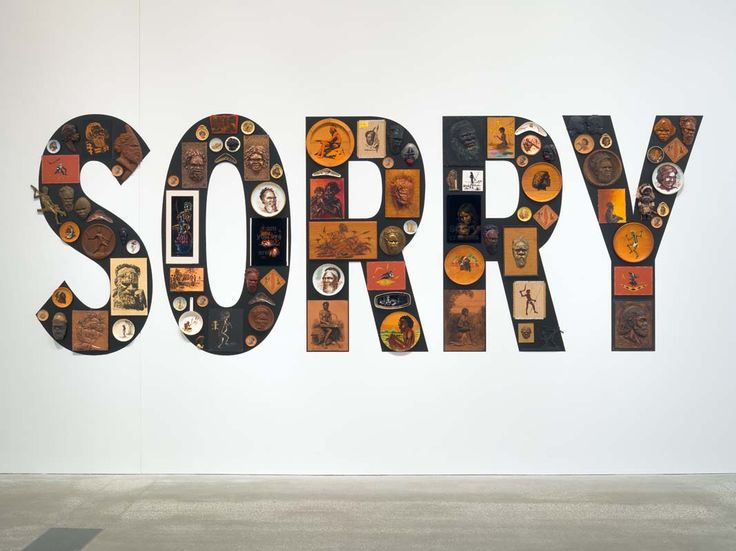 Tony Albert 'Sorry' 2008, 'kitsch objects applied to vinyl letters'
