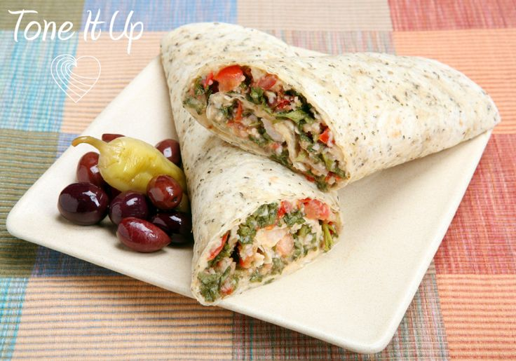 This quick, easy and healthy Roasted Veggie & Hummus Wrap is perfect for lunch or an afternoon snack!