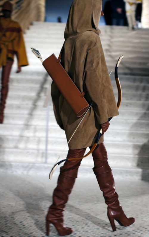 bow and arrow couture: Fashion, Robins Hoods, Matching Outfits, Bows Arrows, Hermes, The Hunger Games, Dresses Up, Green Arrows, Boots