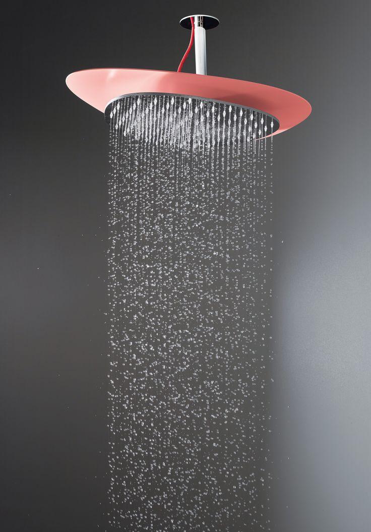 Cloud showerhead - Meneghello Paolelli Associati design #fimacarlofrattini #fmacf #cloud #bathroom #wellness #design #ceilingmounted #lightsredandwhite #luxury #water