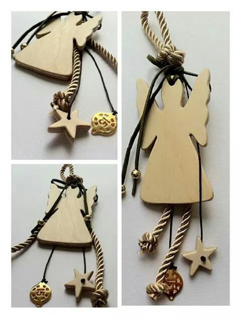 Christmas handmade decoration. Wooden Angel Charm By KIKOmania 10€ Χειροποίητο γούρι