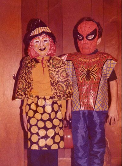 super cheesy plastic halloween costumes <3Spiderman, Vintage Witch