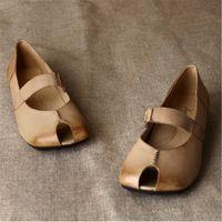 2014 damesschoenen zelf- schaduw vintage comfortabele lederen hasp laag- hakken sandalen