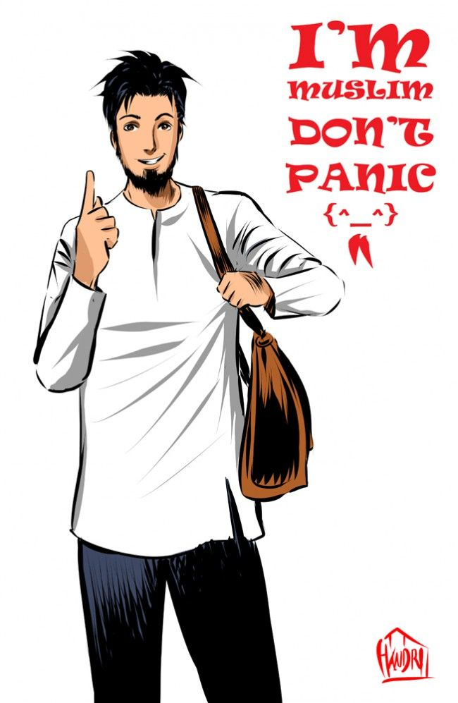 Don't Panic (Poster With Anime Muslim Man Drawing)