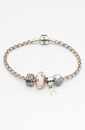 PANDORA Leather Bracelet & Charms  available at #Nordstrom