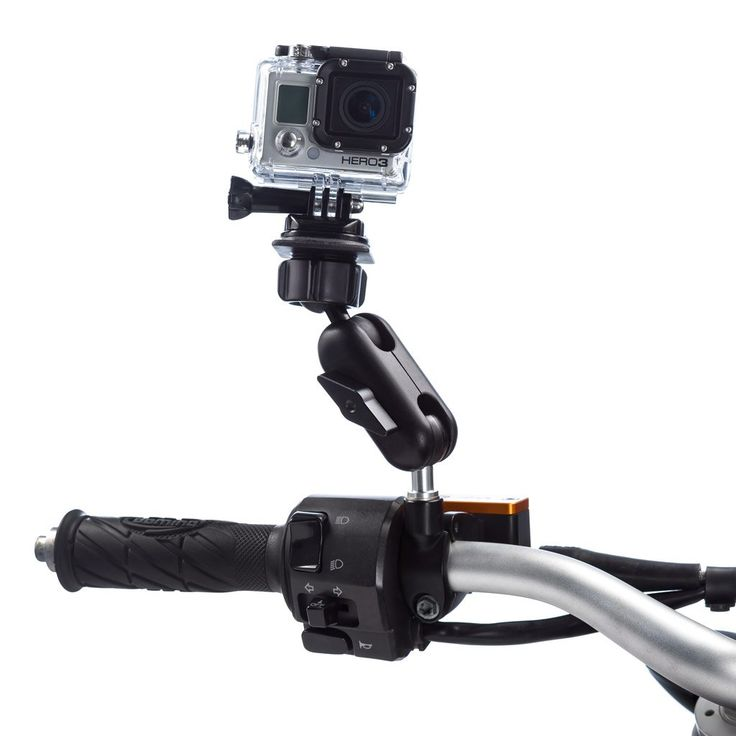 This motorcycle M10 mounting kit for the GoPro action cameras will give you a flat surface which can be angled / tilted to suit your needs.