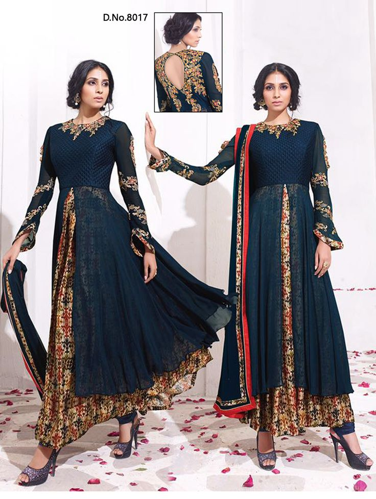 Buy Online DarkBlue Karma Designer Anarkali Suit At Wholesale Price In  India   Shruti Creation