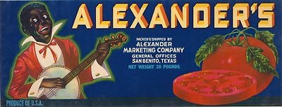 RARE OLD 1930S BLACK BANJO PLAYER ALEXANDERS BRAND BOX LABEL SAN BENITO TEXAS - $ 34.95