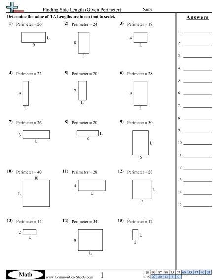 finding side length given perimeter worksheet. Black Bedroom Furniture Sets. Home Design Ideas