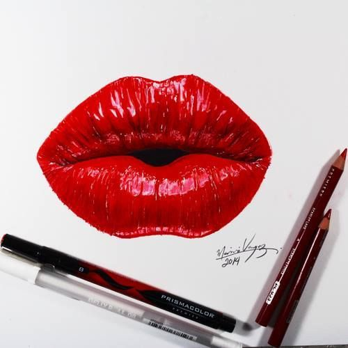 Red lips drawing