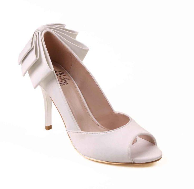 Mila - White Bow Peep Toe 5 inch wedding heels