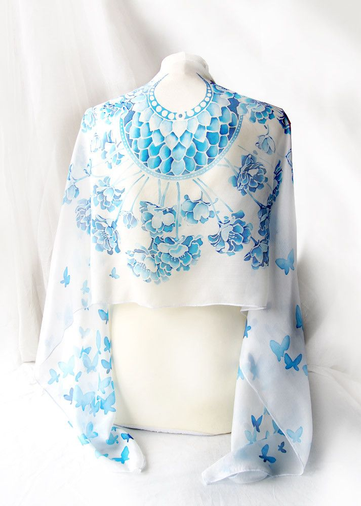 Silk scarf Wedding hand painted by Luiza Malinowska MinkuLuL Etsy: https://www.etsy.com/listing/208004208/silk-scarf-wedding-scarf-hand-painted?ref=listing-shop-header-1 #minkulul #silkscarf