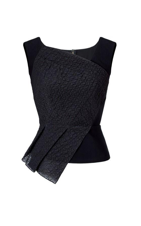 Roxwell Designer Top | Black Viscose | Roland Mouret Resort Collection