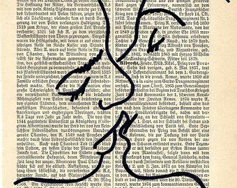"Kuss, Liebe, Wandbild, antiquarische Buchseite (aus 1893) 15,5cm x 25cm (6,1"" x 9,8""), Recycling Kunst, Wanddekor"