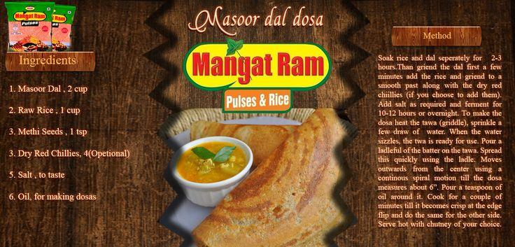 Twist in Mangat Ram Masoor Dal Dosa may lead you to a great cook. www.mangatramdalmills.co.in