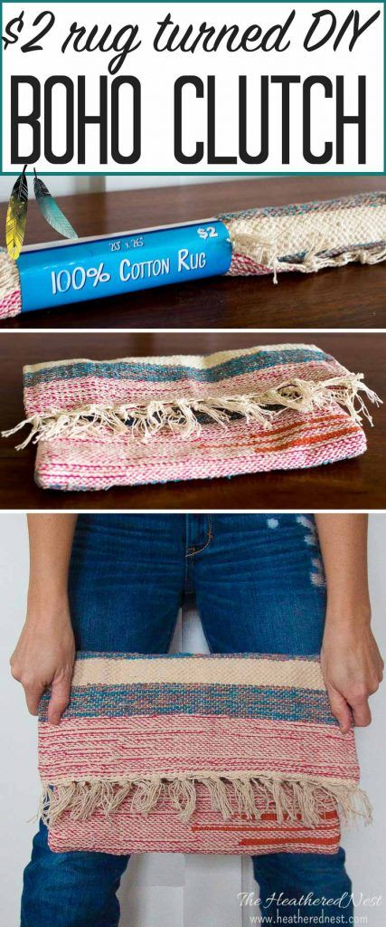 DIY clutch carpet bag from a $2 rug | Heathered Nest | Rule Your Roost . Dress Your Nest . Ruffle Some DIY Feathers