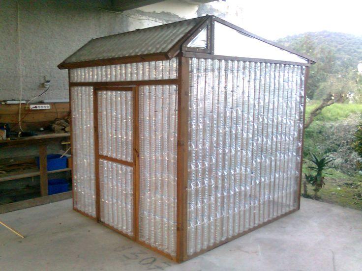 Plastic bottle green house - or chicken coop