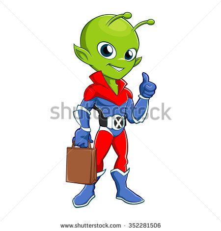 Superhero alien with bag