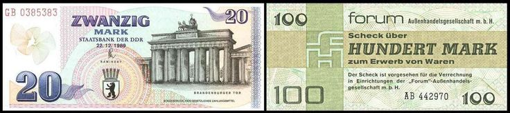 German Demokratic Republik (East Germany). Collection from approximate 99 bank notes, from Cuponschein till to the Forumscheck, mostly complete sets, with also Musterscheine, excellent condition  Dealer Dresdner Stamp Auction  Auction Minimum Bid: 500.00EUR