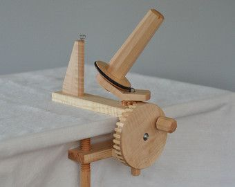Walnut Yarn Ball Winder by MortiseTortoise on Etsy