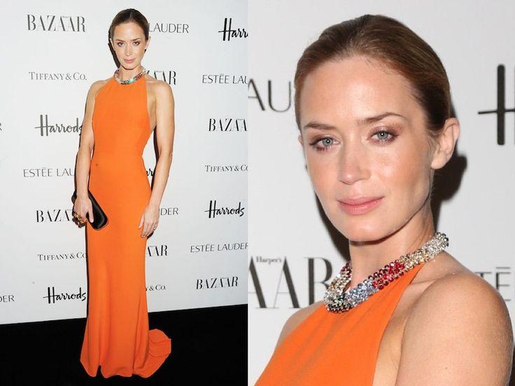ClioMakeUp-trucco-vestito-abito-arancione-arancio-aranciato-abbinare-ombretto-rossetto-emily-blunt