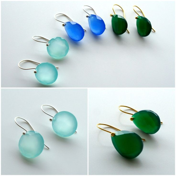 Simple set semi-precious stone earrings on 925 silver or 18K gold shafts