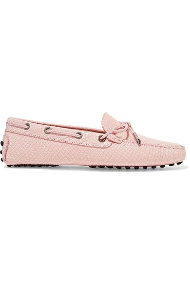 Tod's - Gommino Snake-effect Leather Loafers - Pastel pink - IT40.5