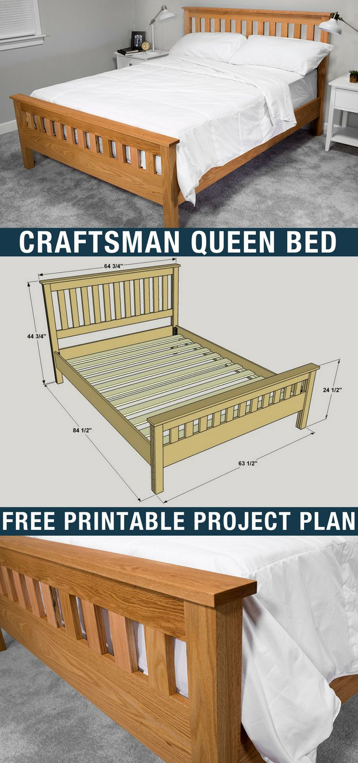 DIY Craftsman Style Queen Bed | Free printable project plans on buildsomething.com | Furniture from the Craftsman/Arts and Crafts Style remains incredibly popular today thanks to timeless styling and simple lines. Those are both present in this queen-size bed. You can build one more easily than you thought, too. The cuts are all straight, and it's assembled with pocket-hole joinery.