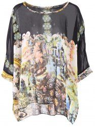 Bohemian Scoop Neck Printed 3/4 Sleeve Loose-Fitting Chiffon Blouse For Women