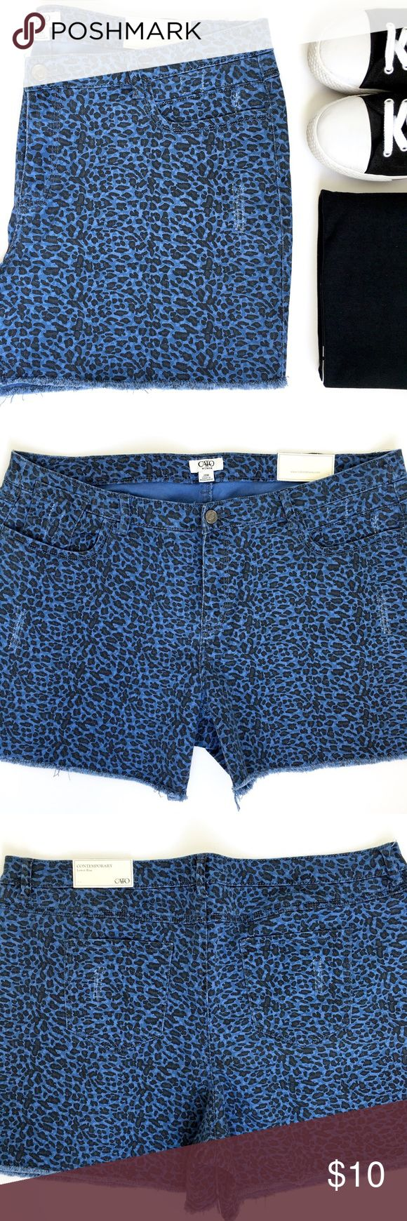 """Cato Blue Leopard Shorts FINAL PRICE!! Cute animal print shorts! They have a faded blue destructed style to them and front and back pockets. They say contemporary lower rise, but they sit at your natural waist line. See rise measurements. Material is cotton/spandex blend.  Size: 20W Inseam: 5"""" Rise: 11"""" Waist: 41"""" - Stretchy  New with tags. Cato Shorts"""