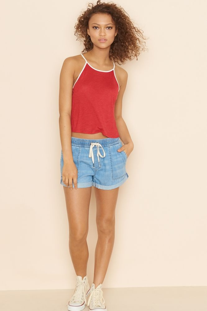 Misty Blue Short With Rolled Cuff
