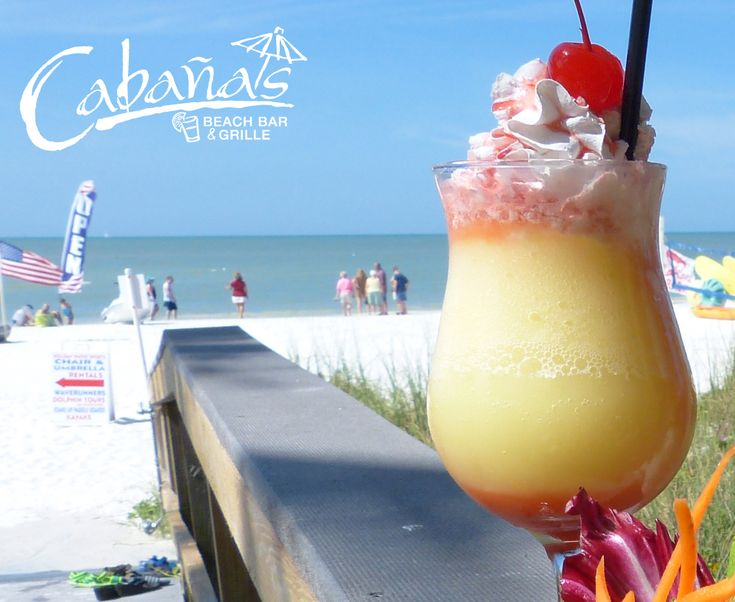 Cabanas Beach Bar, located at DiamondHead Beach Resort on Fort Myers Beach, serves cold drink with stunning views of the Gulf of Mexico. Who's thirsty?