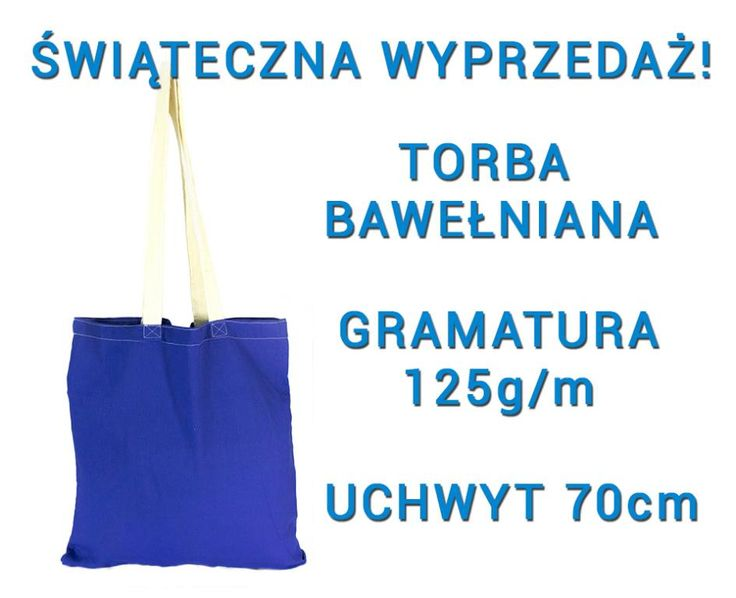 Granatowa torebka bawełniana torba z uchem ecru