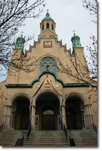 St Nicholas Ukranian Catholic Church.  13 domes to represent Christ and 12 apostles. Frescoes.