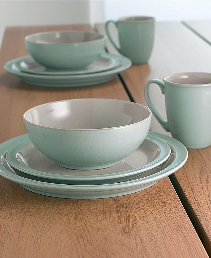 denby dinnerware duets taupe and blue 4 piece place setting casual dinnerware dining
