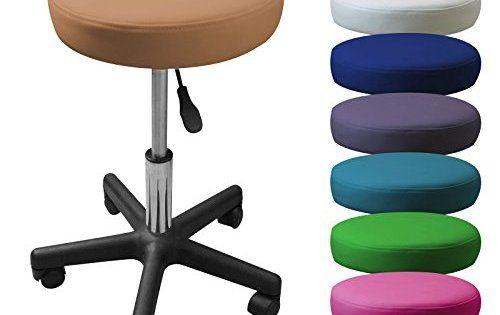 Linxor France ® Tabouret à roulette réglable en hauteur de 45 à 62 cm et pivotable à 360° – 9 coloris – Norme NF EN 1022: MARQUE FRANÇAISE…