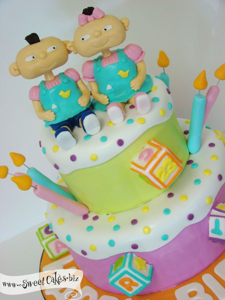 rugrats cake  Google Search  Cakes for Babies  Baby shower cakes for boys Twins cake Twin
