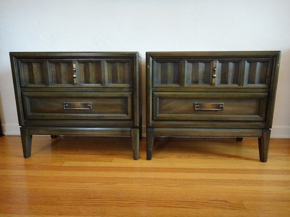 Pair of Mid Century Modern 2 Drawer Dark Olive Nightstands by ...