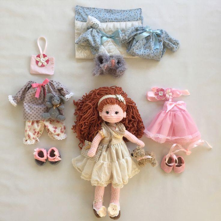 Beautiful doll with wardrobe @nathaliesweetstitches