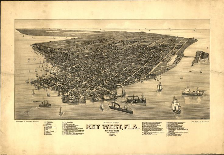 """Panoramic map of Key West from 19th century. """"The panoramic map, or bird's-eye view, was one of the most popular forms of cartography in the United States during the late nineteenth century. Panoramas adorned the walls of homes, and politicians used the maps to promote the prosperity of their respective cities."""""""