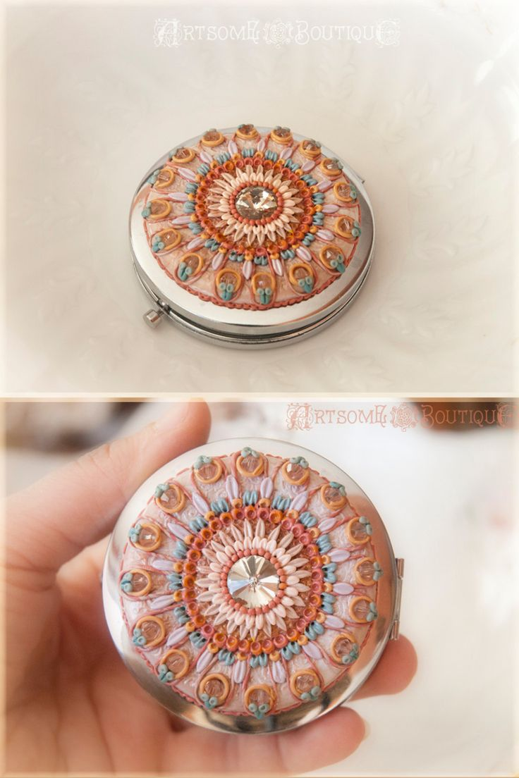 Purse Compact Mirror, Flower Mandala Handheld Mirror, Polymer Clay Flower Mirror, Travel Mirror, Vintage Design Pocket Two Sided Mirror by ArtsomeBoutique on Etsy
