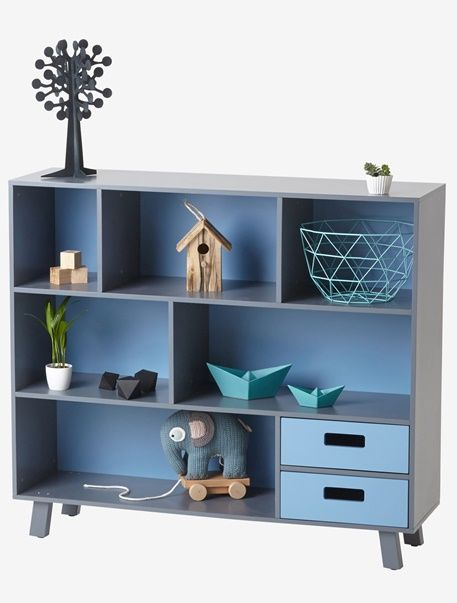 Both vintage with its fifties design and yet very modern with its colours, this bookcase will look great in your child's room!   SIZE: height 96 cm, length 105 cm, depth 30 cm.  Matt paint with a velvety-soft feel. 2 drawers.    Bookcase made of wood fibreboard. Pine legs.;