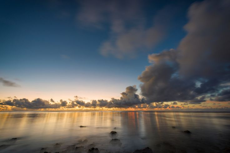 Blue Hour - Beach view over lagoon after sunset.