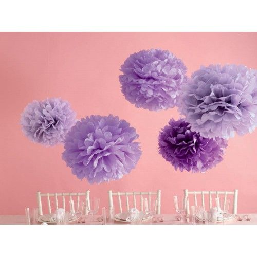 Purple Pom Poms - Set of 5 by Martha Stewart