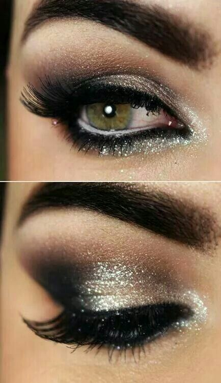 Beautiful subtle glitter eye makeup